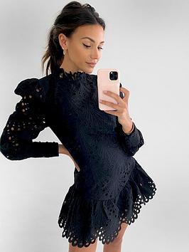 michelle-keegan-premium-high-neck-lace-dress-black