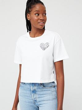 Converse Converse Left Chest Heart Cropped T-Shirt - White Picture