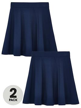 V by Very V By Very Girls 2 Pack Jersey School Skater Skirts - Navy Picture