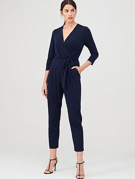 Wallis Wallis Three-Quarter Sleeve Wrap Jumpsuit - Ink Picture