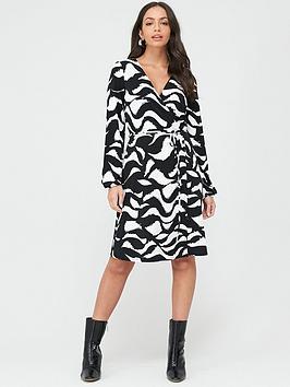 wallis-swirl-wrap-dress-monochrome