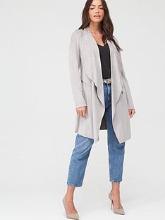 wallis-longline-suedette-waterfall-jacket-grey