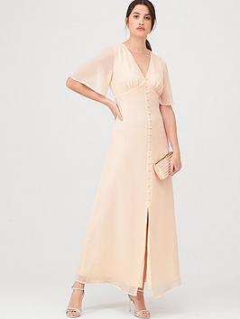 Warehouse Warehouse Angel Sleeve Button Front Maxi Dress - Blush Picture