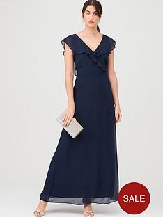 warehouse-frill-wrap-button-maxi-dress-navy