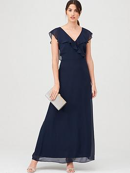 Warehouse Warehouse Frill Wrap Button Maxi Dress - Navy Picture