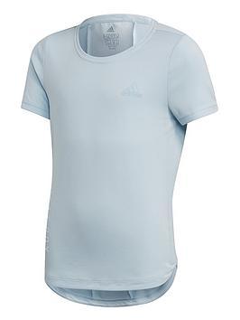 Adidas  Junior Girls Training Heat Rdy Tee - Light Blue