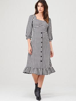 Warehouse Warehouse Gingham Square Neck Peplum Dress - Mono Picture