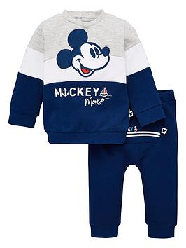 Mickey Mouse   Baby Boys Colour Block Tracksuit - Multi