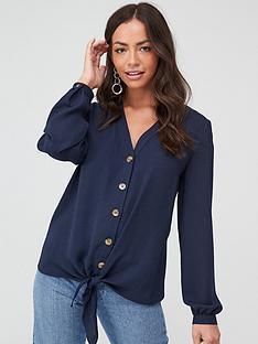 wallis-linen-look-tie-front-shirt-ink