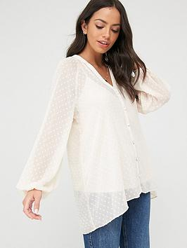 Wallis Wallis Dobby Spot Shirt - Cream Picture