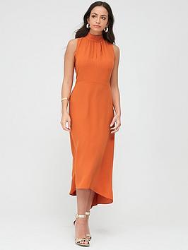 Wallis Wallis High Neck-High Low Dress - Orange Picture