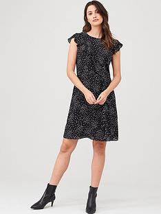 wallis-speckled-spot-frill-fit-amp-flare-dress-mono
