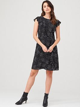 Wallis Wallis Speckled Spot Frill Fit &Amp; Flare Dress - Mono Picture