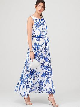 Wallis Wallis Sprayed Floral Pleat Dress - Ivory Picture