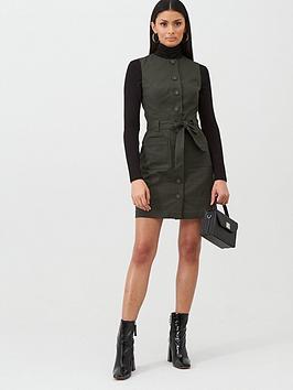 oasis-button-through-texture-shift-dress--nbsp-khaki