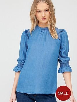 oasis-ruffle-sleeve-three-quarter-sleeved-top