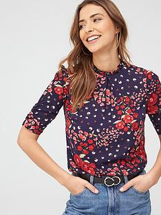 oasis-floral-ruched-sleeve-tee-bluenbsp