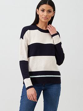 Oasis Block Stripe Perfect Crew Jumper - Navy