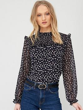 Oasis Oasis Sweetheart Ditsy Sheered Yoke Blouse - Multi Blue Picture