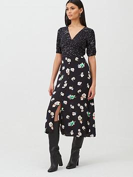 Oasis Oasis Merci Floral Patched Midi Dress - Black Picture