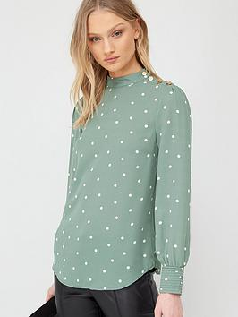 Oasis Oasis Spot Chiffon Frill High Neck Top - Multi Green Picture