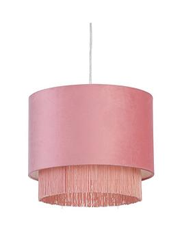 Very Fremont Tiered Fringe Easy-Fit Pendant Lightshade - Pink Picture
