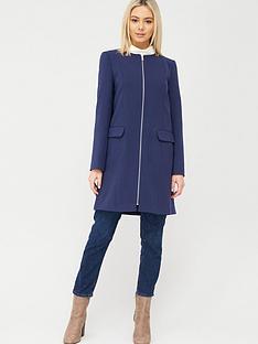 oasis-collarless-zip-front-coat-navy
