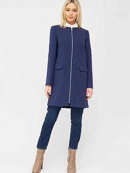 Oasis Oasis Collarless Zip Front Coat - Navy Picture