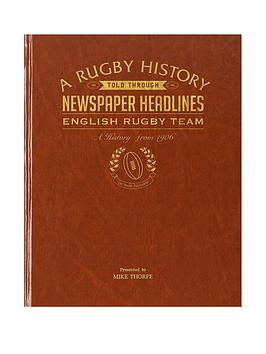 Very  A4 England Rugby History Newspaper Headlines - Premium Hardback Cover