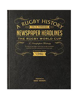 A3 Rugby World Cup History Newspaper Headlines - Leather Black Cover