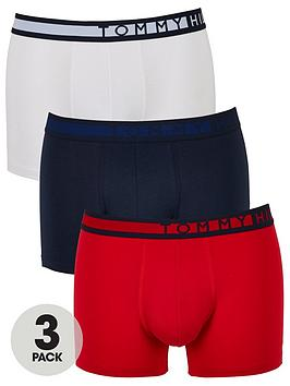 Tommy Hilfiger Tommy Hilfiger 3 Pack Side Logo Trunks - Navy/Red/White Picture