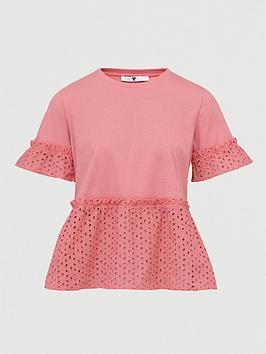 V by Very V By Very Broderie Mix Tee - Pink Picture