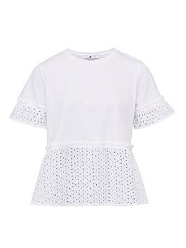 V by Very V By Very Broderie Mix Tee - White Picture