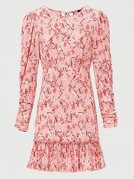 V by Very V By Very Floral Ruched Sleeve Mini Dress - Pink Print Picture