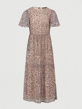 V by Very V By Very Mesh Puff Sleeve Maxi Dress - Animal Print Picture