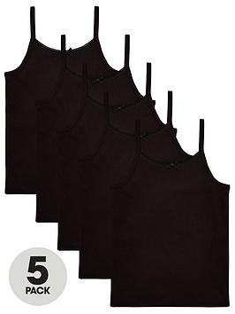 V by Very V By Very Girls 5 Pack Strappy School Vests - Black Picture