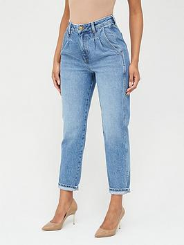 V by Very V By Very High Waisted Pleat Top Mom Jeans - Mid Wash Picture