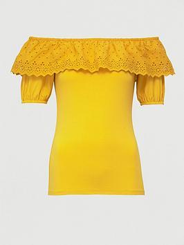 V by Very V By Very Broderie Trim Bardot Top - Mustard Picture