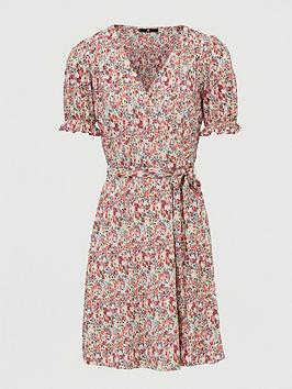 V by Very V By Very Plisse Floral Wrap Mini Dress - Pink Print Picture