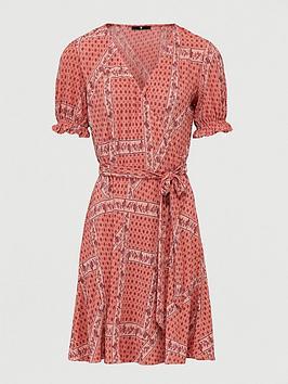 V by Very V By Very Plisse Paisley Wrap Mini Dress - Paisley Print Picture