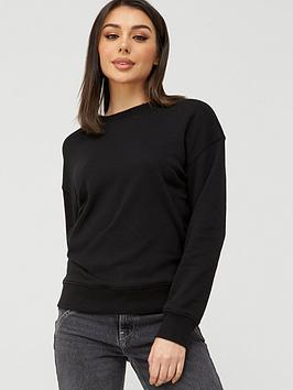 V by Very V By Very The Essential Oversized Basic Sweat - Black Picture