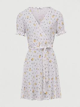 V by Very V By Very Plisse Wrap Mini Dress - White Floral Picture