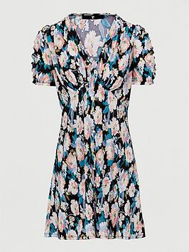 V by Very V By Very Plisse Mini Button Through Dress - Black Floral Picture