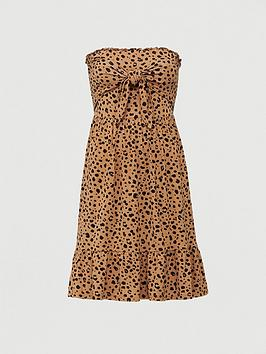 V by Very V By Very Tie Front Shirred Bandeau Mini Dress - Animal Picture