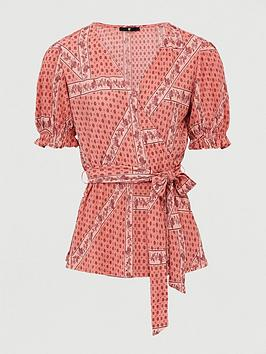 V by Very V By Very Printed Plisse Wrap Top - Paisley Print Picture
