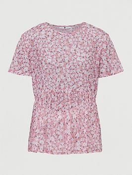 V by Very V By Very Mesh Boxy Fit Tee - Pink Floral Picture