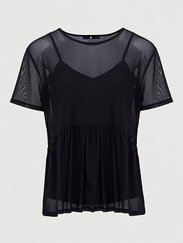 V by Very V By Very Mesh Boxy Fit Tee - Black Picture