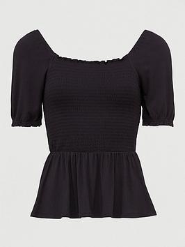 v-by-very-shirred-milkmaid-short-sleeve-top-black