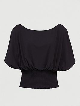 V by Very V By Very Co Ord Shirred Off The Shoulder Top - Black Picture