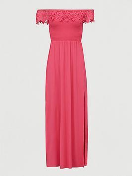 V by Very V By Very Broderie Trim Bardot Maxi Dress - Pink Picture